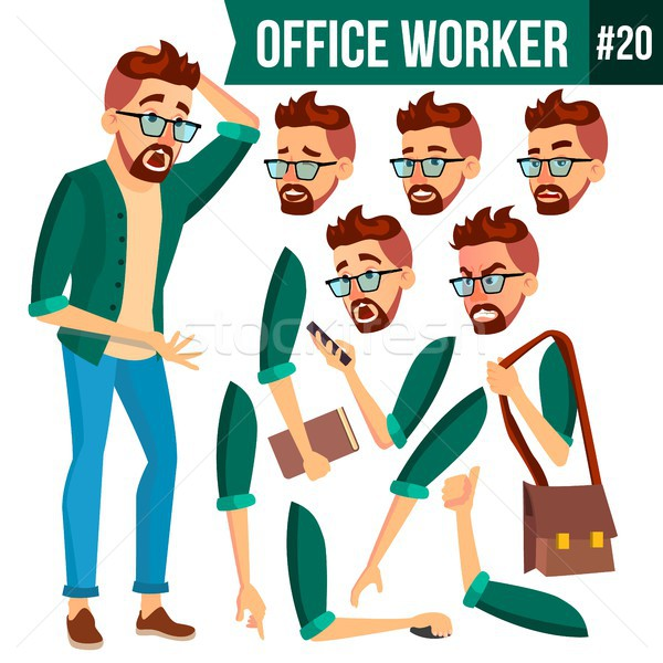 Office Worker Vector. Face Emotions, Gestures. Animation Set. Business Man. Professional Cabinet Wor Stock photo © pikepicture