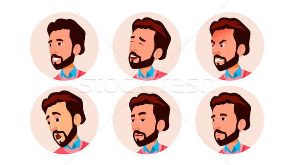 Avatar ikon férfi vektor képregény arc Stock fotó © pikepicture