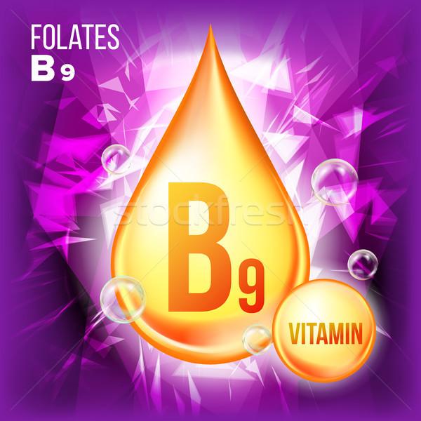 Vitamina vetor ouro Óleo cair ícone Foto stock © pikepicture