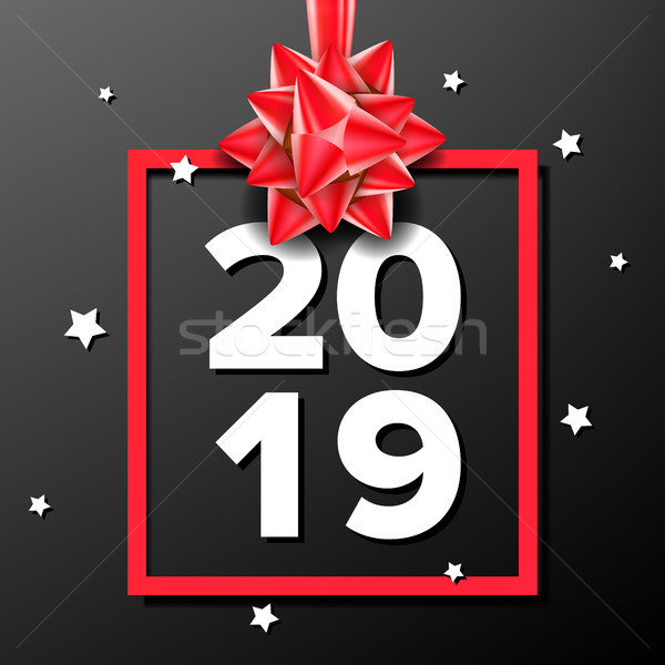 2019 Happy New Year Background Vector. Sign 2019. Modern Christmas Brochure. Seasonal Flyer. Black,  Stock photo © pikepicture
