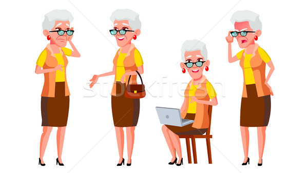 Old Woman Poses Set Vector. Elderly People. Senior Person. Aged. Positive Pensioner. Advertising, Pl Stock photo © pikepicture