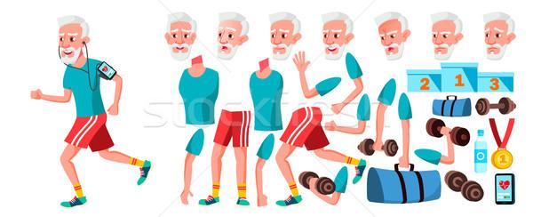 Oude man vector senior persoon portret ouderen Stockfoto © pikepicture