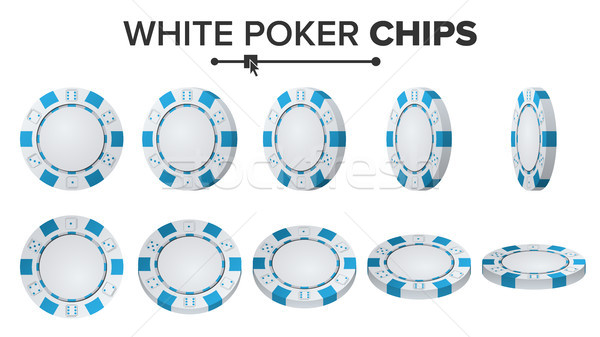 White Poker Chips Vector. 3D Set. Plastic Round Poker Chips Sign Isolated On White. Flip Different A Stock photo © pikepicture