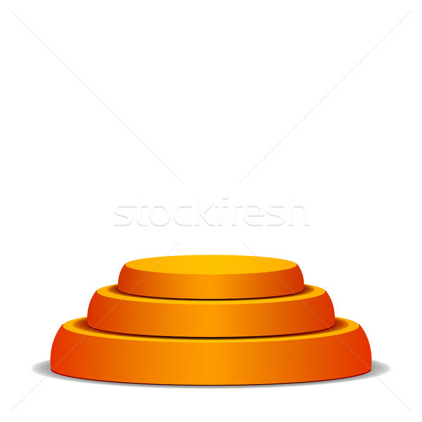 Stock photo: Empty Vector Podium. Isolated On White Background. Yellow 3D Stage. Realistic Platform. Round Pedest