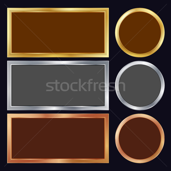 Gold, Silver, Bronze, Copper Metal Frames Vector. Rectangular, Round. Realistic Metallic Plates Illu Stock photo © pikepicture