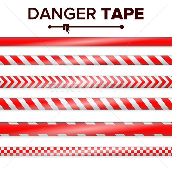 Danger Tape Vector. Red And White. Warning Tape Strips. Realistic Plastic Police Danger Tapes Set Is Stock photo © pikepicture