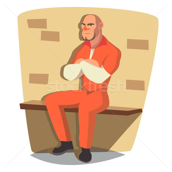 Prisoner Man Vector. Criminal Man Arrested And Locked. Isolated Flat Cartoon Character Illustration Stock photo © pikepicture