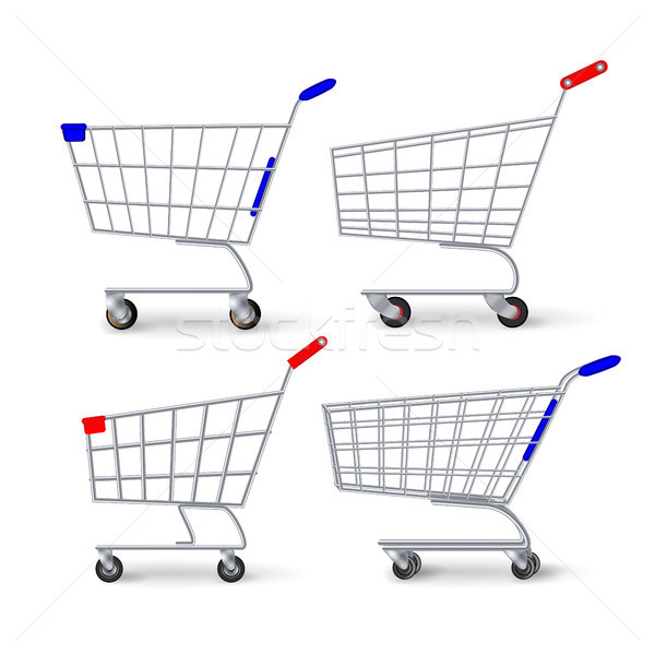 Supermarket Shopping Cart Vector. Set Empty Classic Chrome Cart Trolley Or Basket Isolated Stock photo © pikepicture