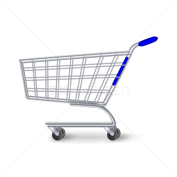 Supermarket Shopping Cart Vector. Side View Empty Shopping Cart Isolated On White Background. Stock photo © pikepicture