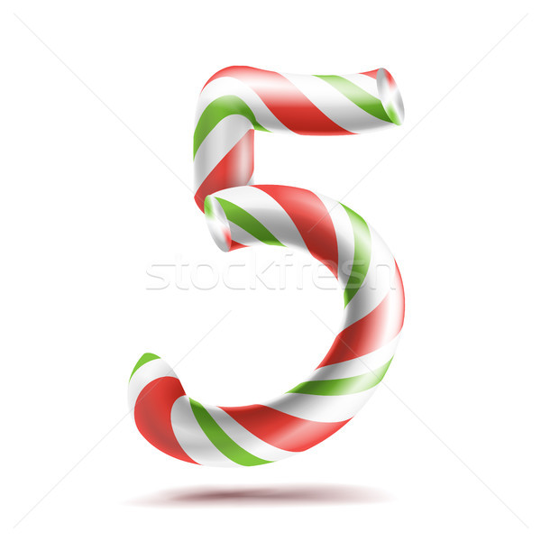 5, Number Five Vector. 3D Number Sign. Figure 5 In Christmas Colours. Red, White, Green Striped. Cla Stock photo © pikepicture