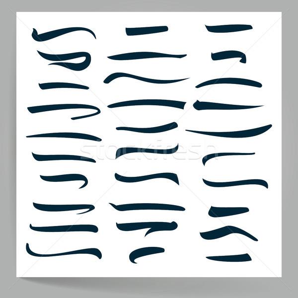 Foto stock: Vetor · conjunto · feito · à · mão · linhas · isolado · branco