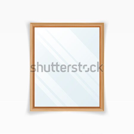 Realistic Mirrors Vector. Decoration Mirror With Reflection. Interior Decoration. Wood Frame Stock photo © pikepicture