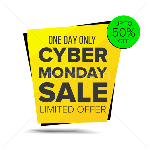 Cyber Monday Sale Banner Vector. Up To 50 Percent Off Monday Badge. Crazy Sale Poster. November Craz Stock photo © pikepicture