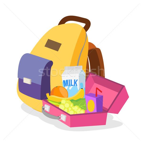 Ebéd doboz táska vektor egészséges étel gyerekek Stock fotó © pikepicture