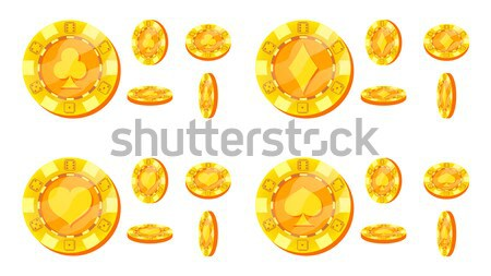 Poker Chips Vector. Flat, Cartoon Set. 20, 50, 100, 200 Dollar Sign. Award Icons. Gold Poker Game Ch Stock photo © pikepicture