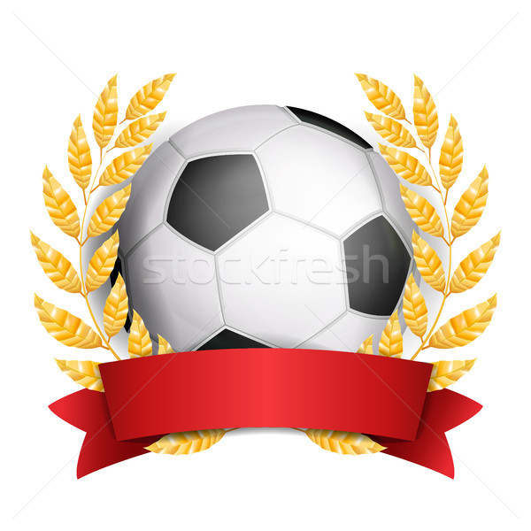 Football Award Vector. Sport Banner Background. Ball, Red Ribbon, Laurel Wreath. Soccer Ball. 3D Rea Stock photo © pikepicture