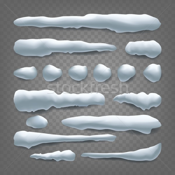 Snow Drift Vector. Snowballs, Snowdrift. New Year Winter Ice Element. Realistic Snow Caps. Isolated  Stock photo © pikepicture