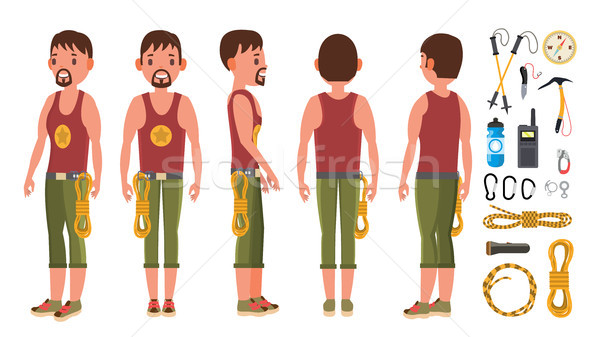 Rock Climber Male Set Vector. Rock Climbing Sport. Climbing A Mountain With A Rope. Extreme Hobby. I Stock photo © pikepicture