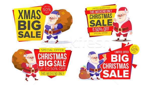 Сток-фото: Рождества · продажи · баннер · шаблон · Дед · Мороз · вектора