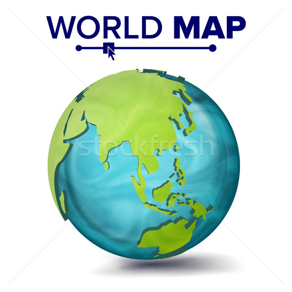 Stock photo: World Map Vector. 3d Planet Sphere. Earth With Continents. Asia, Australia, Oceania, Africa. Isolate