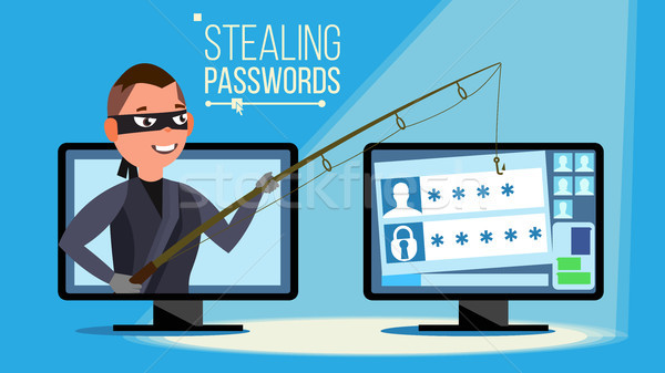 Hacking Concept Vector. Hacker Using Personal Computer Stealing Credit Card Information, Personal Da Stock photo © pikepicture