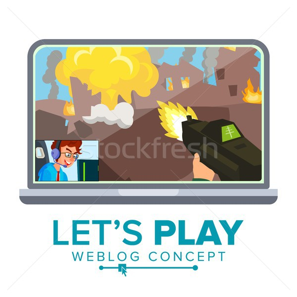 Let s Play Blogger Review Concept Vetor. Videoblogger On A Screen. Popular Young Video Streamer Blog Stock photo © pikepicture