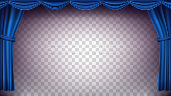 Blue Theater Curtain Vector. Transparent Background. Banner For Concert, Theater. Opera Or Cinema Em Stock photo © pikepicture
