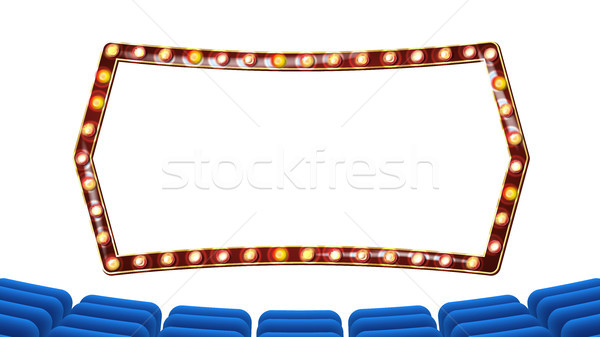 Retro bioscoop vector theater gordijn frame Stockfoto © pikepicture