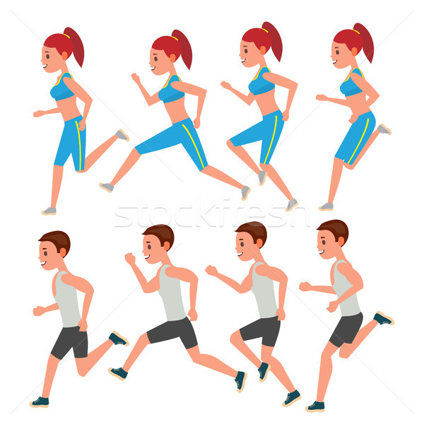 Male And Female Running Vector. Animation Frames Set. Sport Athlete Fitness Character. Marathon Road Stock photo © pikepicture