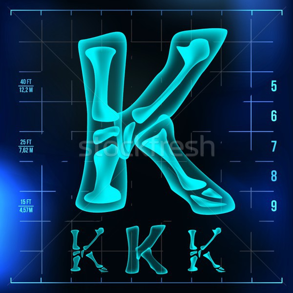 K Letter Vector. Capital Digit. Roentgen X-ray Font Light Sign. Medical Radiology Neon Scan Effect.  Stock photo © pikepicture