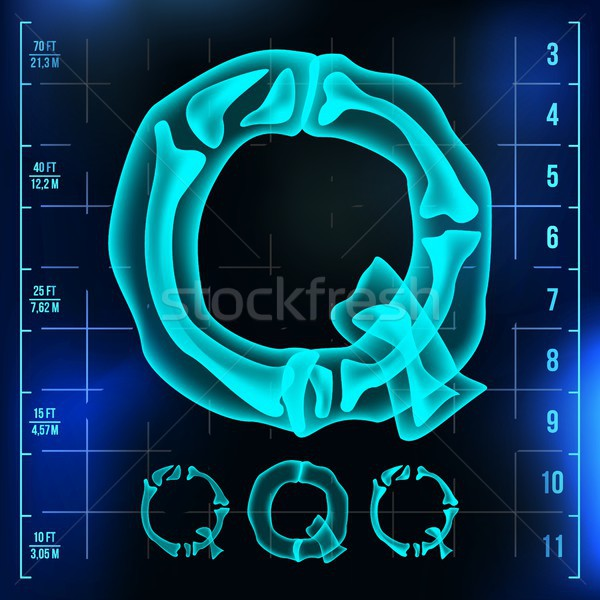 Q Letter Vector. Capital Digit. Roentgen X-ray Font Light Sign. Medical Radiology Neon Scan Effect.  Stock photo © pikepicture