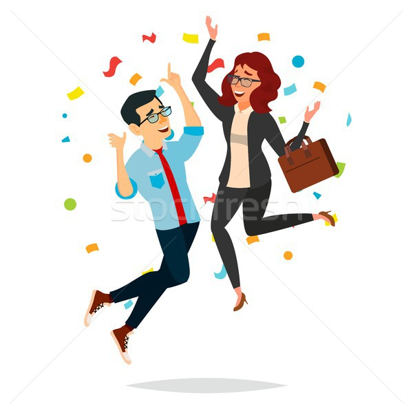 Business Couple Jumping Vector. Man And Woman. Entrepreneurship, Accomplishment. Best Worker, Achiev Stock photo © pikepicture