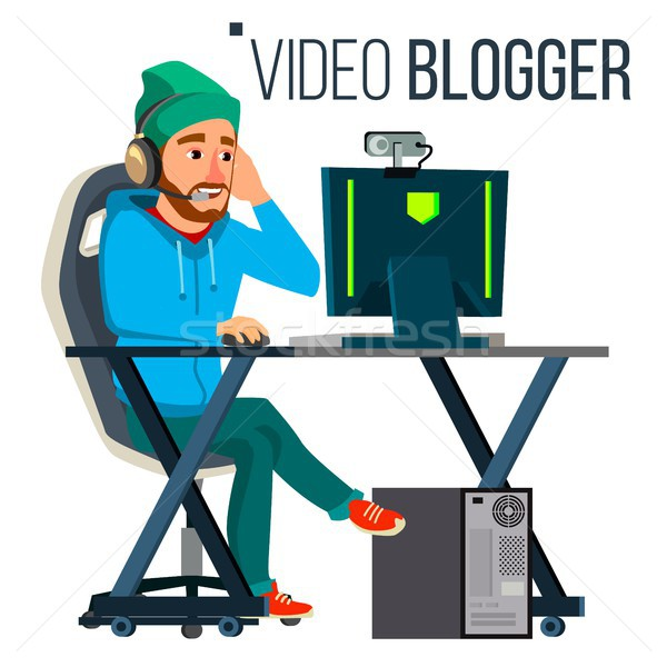Stockfoto: Man · video · blogger · vector · stream