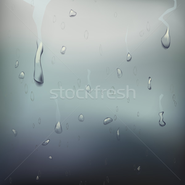 Wet Glass Vector. Drops On Window Glass. Wet Glass Surface. Realistic Illustration Stock photo © pikepicture