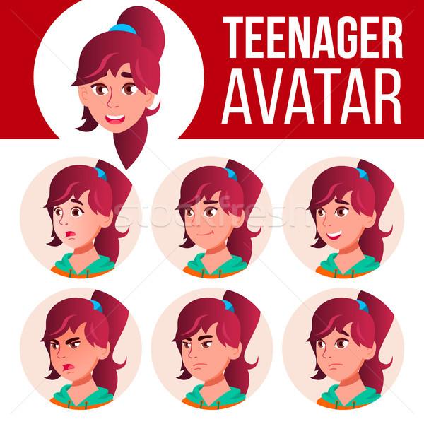 Teen girl avatar zestaw wektora twarz emocje Zdjęcia stock © pikepicture