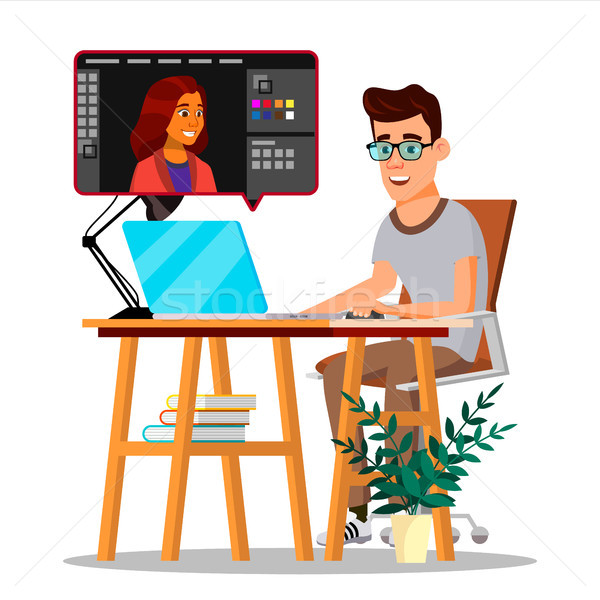 Stock photo: Photographer Retouching Photo Vector. Man Working With Graphic Software. Freelance Concept. Isolated