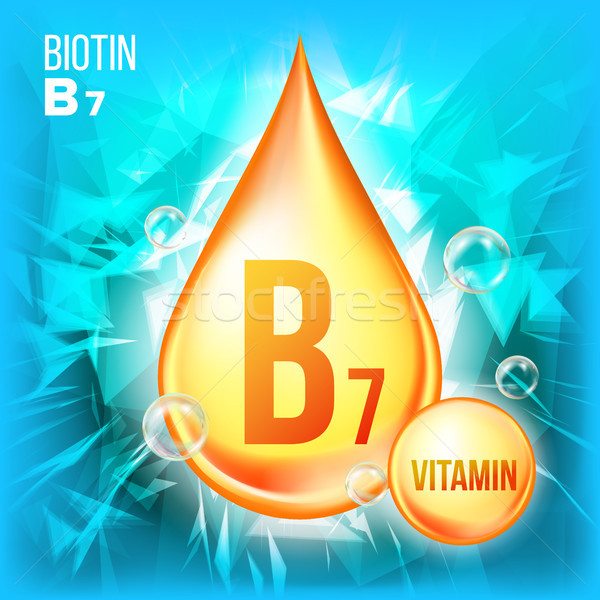 Vitamin B7 Biotin Vector. Vitamin Gold Oil Drop Icon. Organic Gold Droplet Icon. Medicine Liquid, Go Stock photo © pikepicture