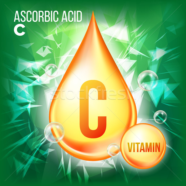 Vitamin C Ascorbic Acid Vector. Organic Vitamin Gold Drop Icon. Medicine Liquid, Golden Substance. F Stock photo © pikepicture
