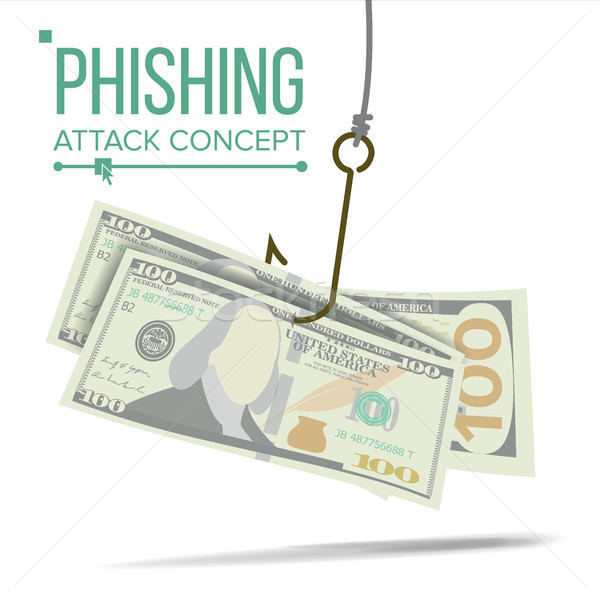 Phishing Money Concept Vector. Financial Bankruptcy. Hacking Attack. Cartoon Illustration Stock photo © pikepicture