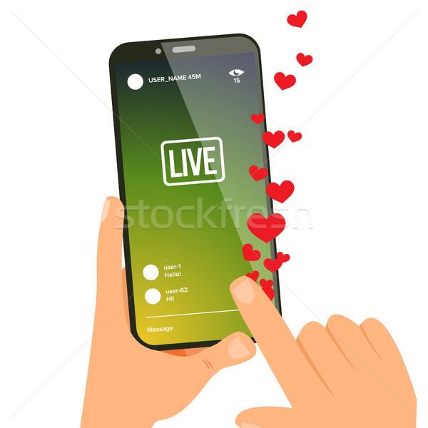 ベクトル 手 携帯電話 画面 を ストリーミング ストックフォト © pikepicture