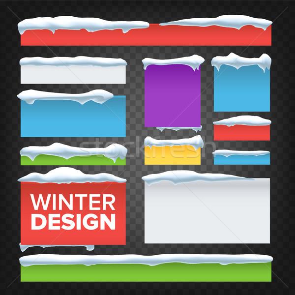 Banner knop sneeuw vector vakantie christmas Stockfoto © pikepicture