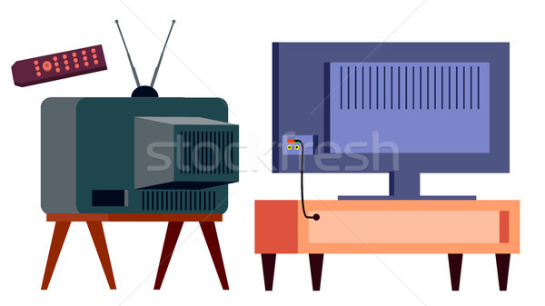 Retro Tv Vs Modern HD Plasma Vector. Backside. lcd panel And Vintage Old Analog Display Screen. Isol Stock photo © pikepicture