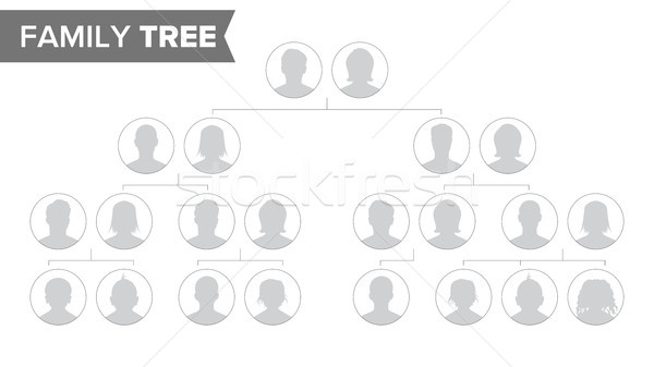 Genealogical Tree Template Vector. Family History Tree With Default People Portraits. Family Tree Ch Stock photo © pikepicture