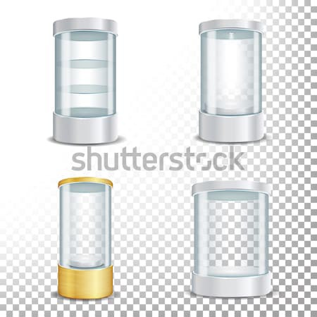 Round Empty Glass Showcase Podium With Spotlight And Sparks. Blank For Exhibit With A Pedestal. Vect Stock photo © pikepicture