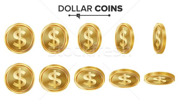 Dollar 3D gouden munten vector ingesteld realistisch Stockfoto © pikepicture