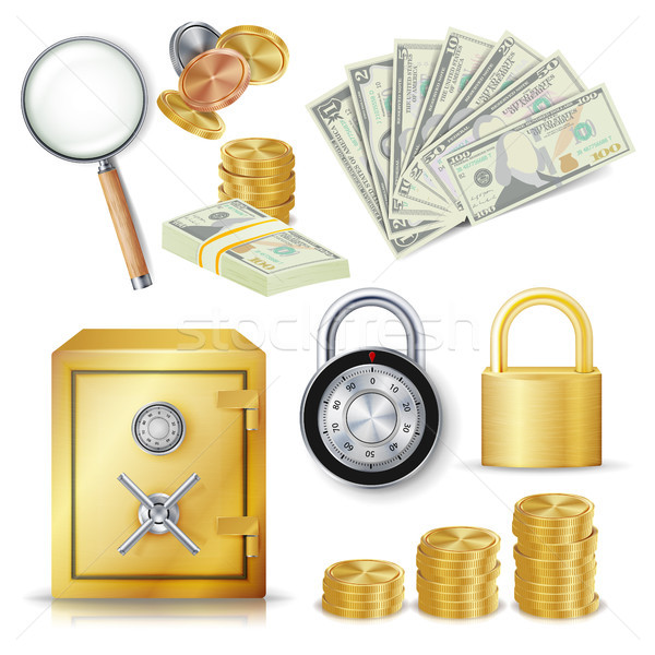 Money Secure Concept Vector. Gold Metal Coins, Money Banknotes Stacks, Encryption Padlock, Safe, Rea Stock photo © pikepicture