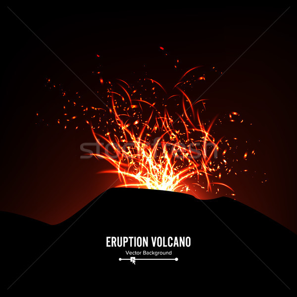 Volcan vecteur orage grand Photo stock © pikepicture