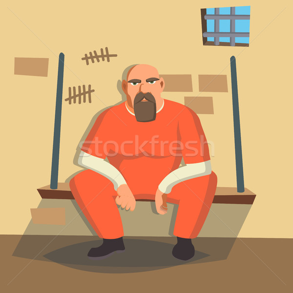 Stock photo: Man In Prison Vector. Bandit Arrested And Locked. Isolated On White Cartoon Character Illustration