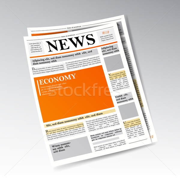 Folded Realistic Economic Newspaper Vector. Business, Finance Information. Daily Newspaper Journal D Stock photo © pikepicture