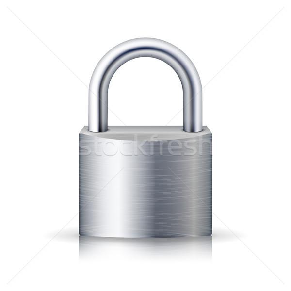 Realistico chiuso lucchetto vettore acciaio lock Foto d'archivio © pikepicture